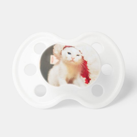 White Christmas Cat Pacifier