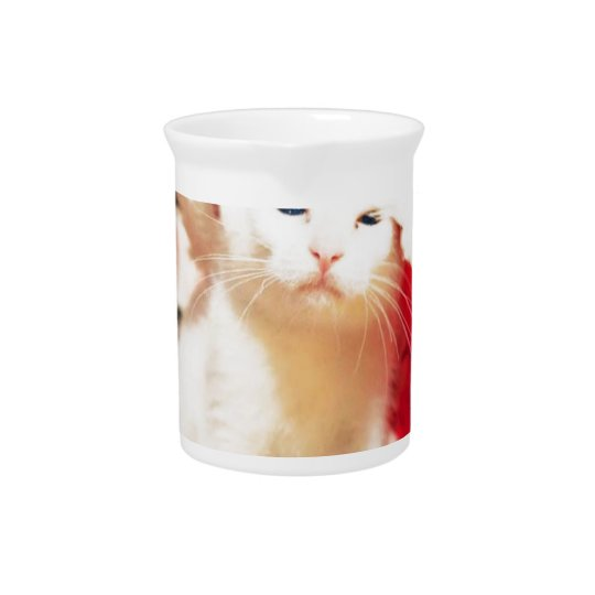 White Christmas Cat Pitcher