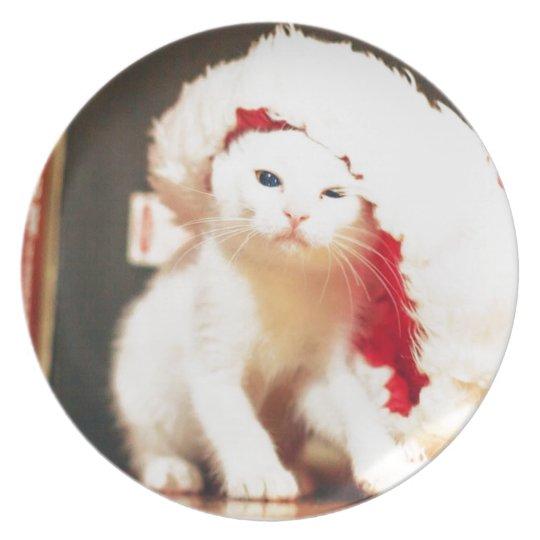White Christmas Cat Plate