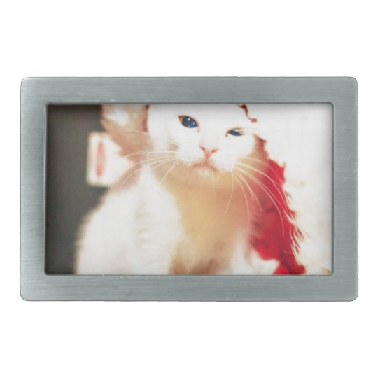 White Christmas Cat Rectangular Belt Buckles