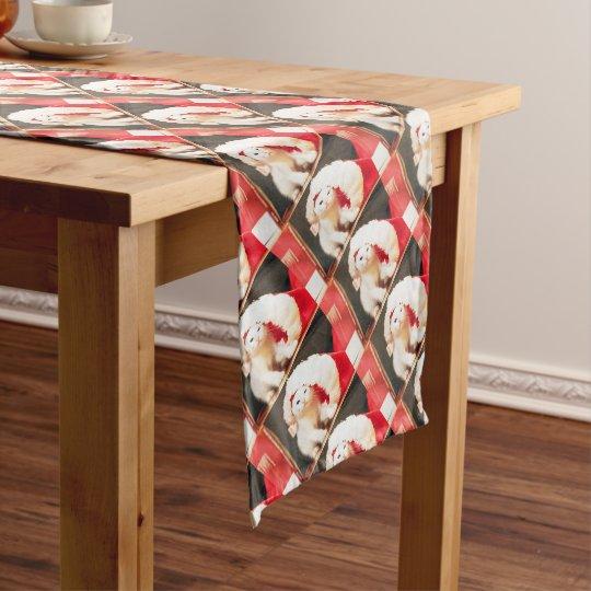 White Christmas Cat Short Table Runner