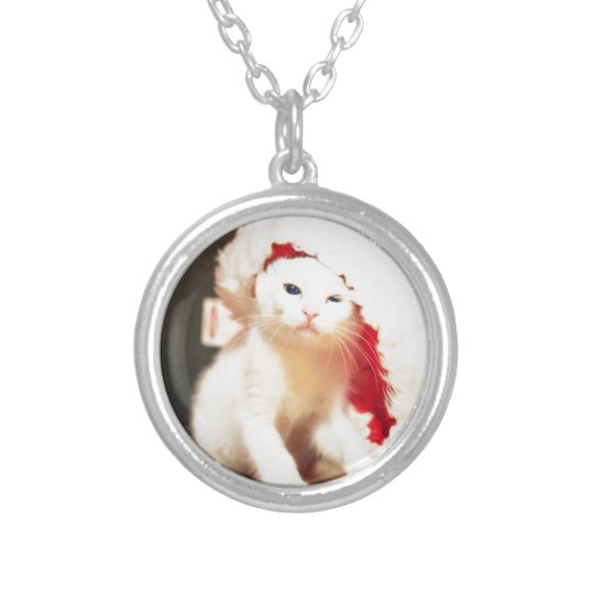 White Christmas Cat Silver Plated Necklace
