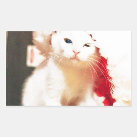 White Christmas Cat Sticker