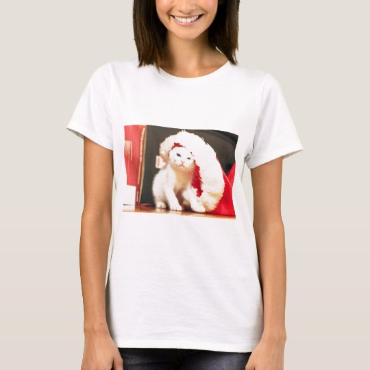 White Christmas Cat T-Shirt
