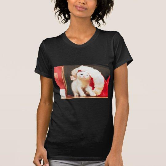 White Christmas Cat T-Shirt