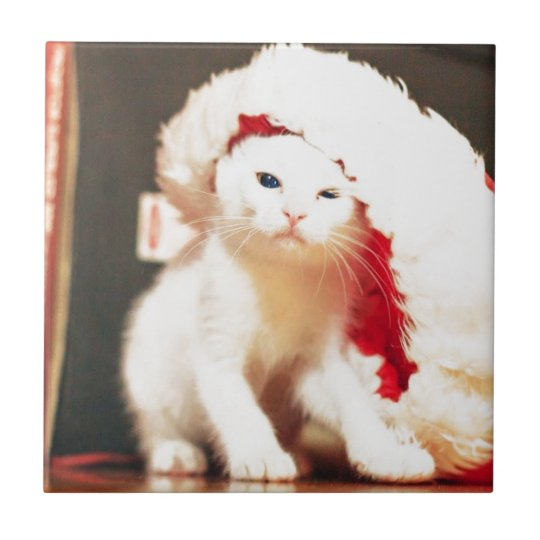 White Christmas Cat Tile