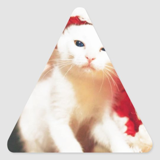 White Christmas Cat Triangle Sticker