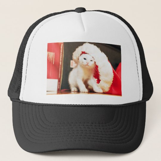 White Christmas Cat Trucker Hat