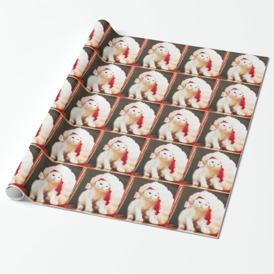 White Christmas Cat Wrapping Paper