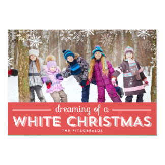 """White Christmas Holiday Photo Card - Red 5"""" X 7"""" Invitation Card"""
