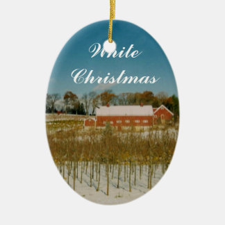 White Christmas in New England Ceramic Ornament
