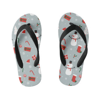 White Christmas Kid's Flip Flops