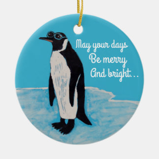 White Christmas Penguin with Sunglasses on Ice Ceramic Ornament