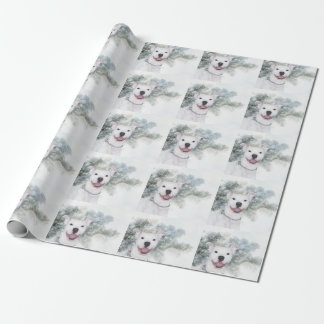 White Christmas Pitbull Wrapping Paper