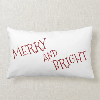 White Christmas Red Merry And Bright Lumbar Pillow