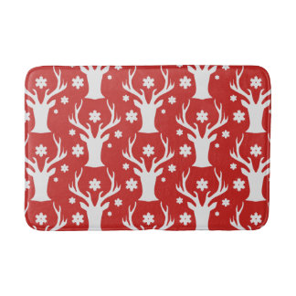 White Christmas reindeer head Holiday bath mat