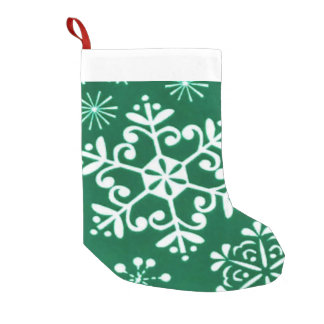 White Christmas Snowflake Holiday stocking Small Christmas Stocking