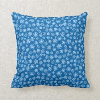 White Christmas Snowflakes on Blue Throw Pillow