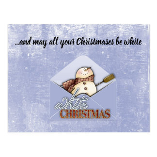 White Christmas Snowman Postcard