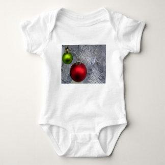 White Christmas Tree Baubles Baby Bodysuit