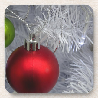 White Christmas Tree Baubles Coaster