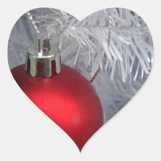 White Christmas Tree Baubles Heart Sticker