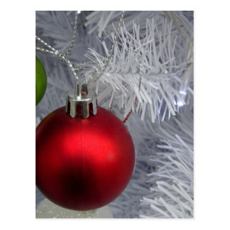 White Christmas Tree Baubles Postcard