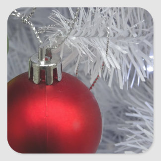 White Christmas Tree Baubles Square Sticker