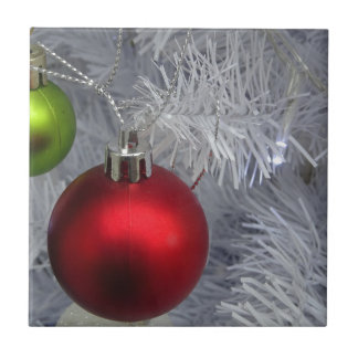 White Christmas Tree Baubles Tile