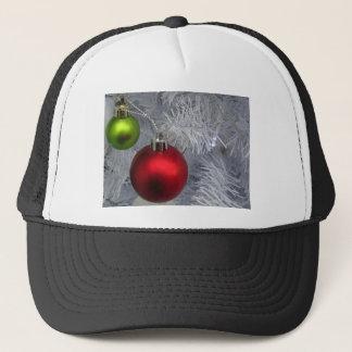White Christmas Tree Baubles Trucker Hat