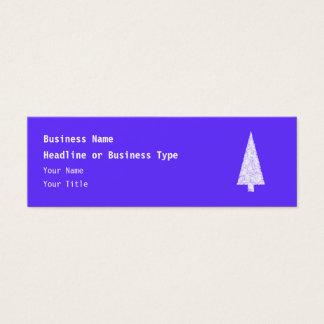 White Christmas Tree. On Blue - Purple. Mini Business Card