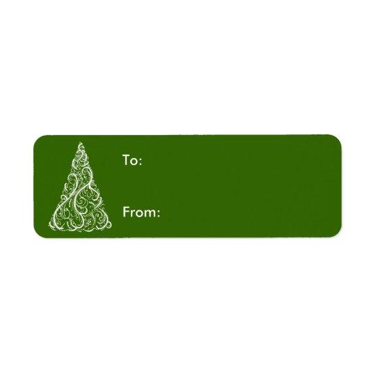 White Christmas Tree on Green Gift Tag