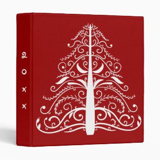 White Christmas Tree on Red Dated 3 Ring Binders