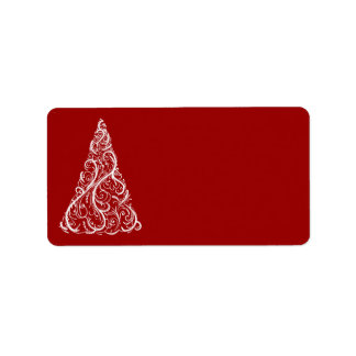 White Christmas Tree on Red Label