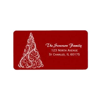White Christmas Tree on Red Return Address