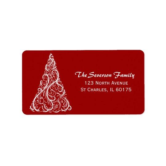 White Christmas Tree on Red Return Address Label