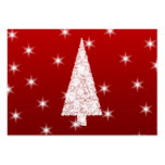 White Christmas Tree with Stars on Red. Pack Of Chubby Business Cards