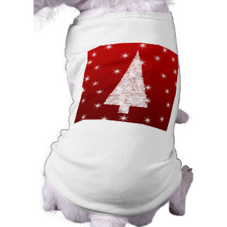 White Christmas Tree with Stars on Red. Doggie Tshirt
