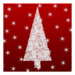White Christmas Tree with Stars on Red. Poster