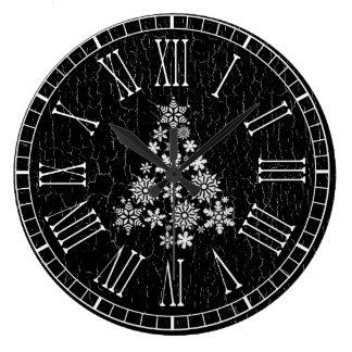 White Christmas Tree Your Weathered Background Large Clock