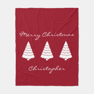 White Christmas Trees on Red Personalized Fleece Blanket