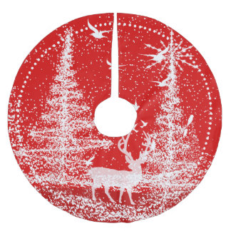 White Christmas Trees Red Background Brushed Polyester Tree Skirt