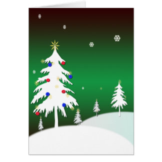 White Christmas Trees with Green Background Card