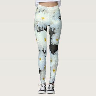 White Chrysanthemum Flowers Leggings
