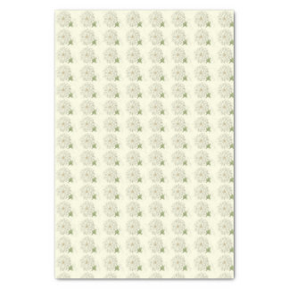 White Chrysanthemums Small Print Tissue Paper