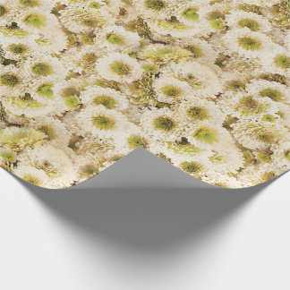 White Chrysanthemums Wrapping Paper
