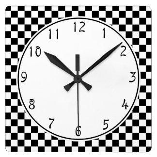 White circle Black Chequerboard pattern Square Wall Clock