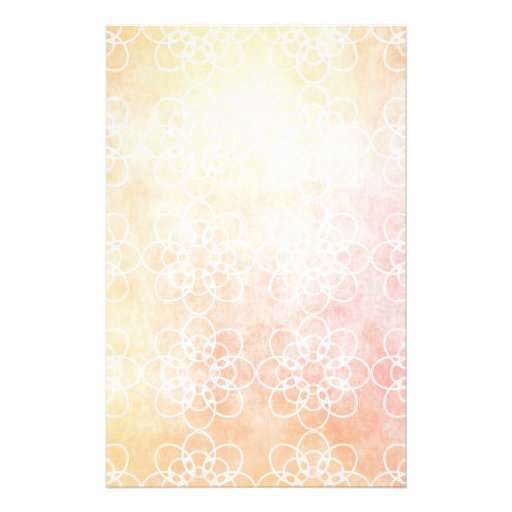 White Circle Flower with Warm Orange background Stationery Paper