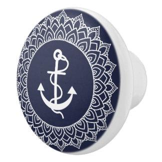 White Circle Mandala & Boat Anchor Ceramic Knob