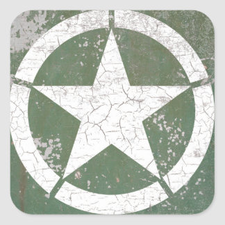White Circle Star Roundel Rustic Square Sticker